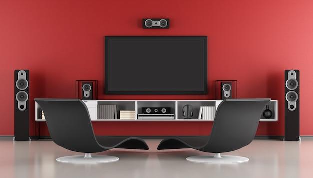 Chambre moderne avec système home cinéma