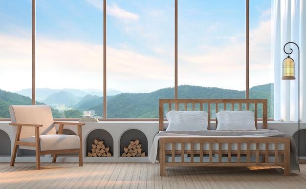Chambre moderne avec vue sur la montagne rendu 3dil y a une grande fenêtre donnant sur la montagne