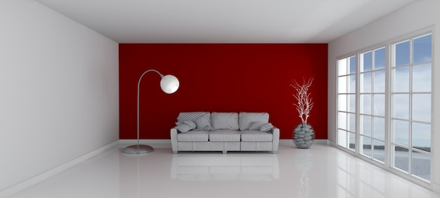 Chambre avec un mur rouge et un canapé