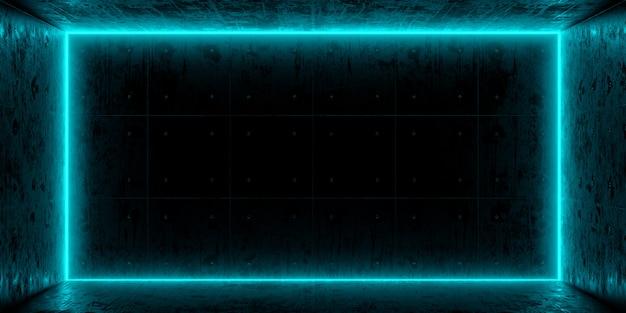 Chambre noire et néon bleu sur le mur. lumières de couleur bleue dans le béton grunge vide de pièce sombre. rendu 3d.
