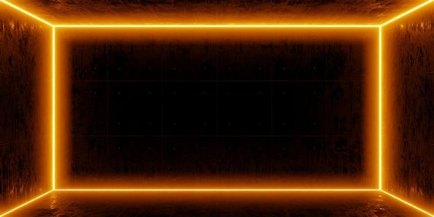 Chambre noire et néon orange sur le mur. lumières de couleur orange dans le béton grunge vide de pièce sombre. rendu 3d.