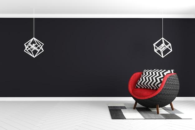 Chambre noire sur sol brillant blanc avec fauteuil, lampe et tapis rouge de style moderne