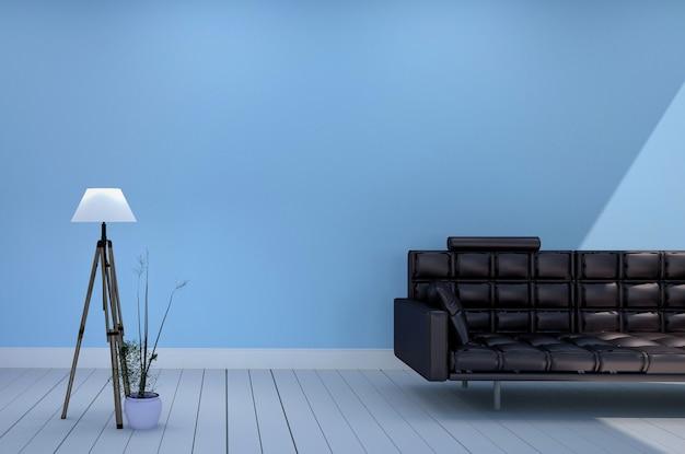 Chambre ont lampe de canapé noir et les plantes, fond de mur bleu clair. rendu 3d