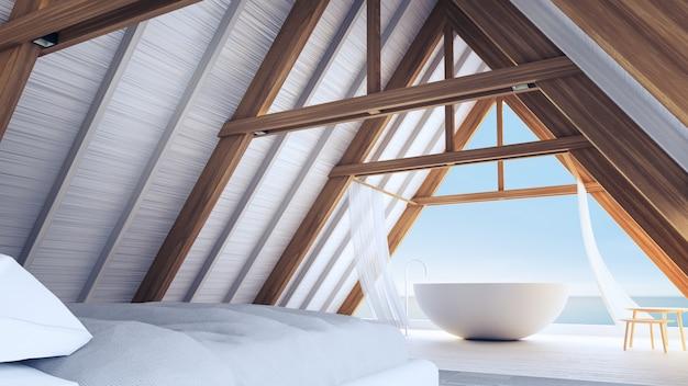 Chambre de plage dans une maison en bois à ossature - intérieur facile et relaxant / rendu 3d
