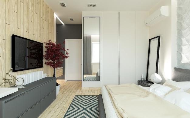 Chambre principale avec dressing panneaux 3d dans un style moderne