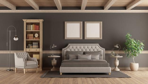 Chambre principale de style classique avec mobilier rétro