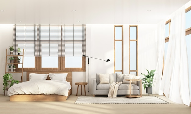 Chambre et salon dans un style contemporain moderne avec cadre de fenêtre en bois et transparent, rendu 3d