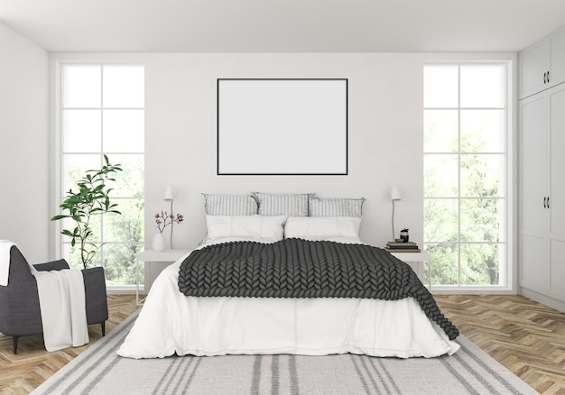 Chambre scandinave avec cadre horizontal vide