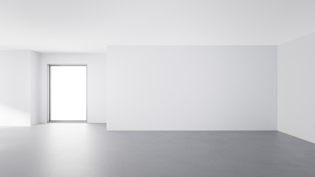 Chambre avec sol en béton et fond de mur vide dans une maison moderne.