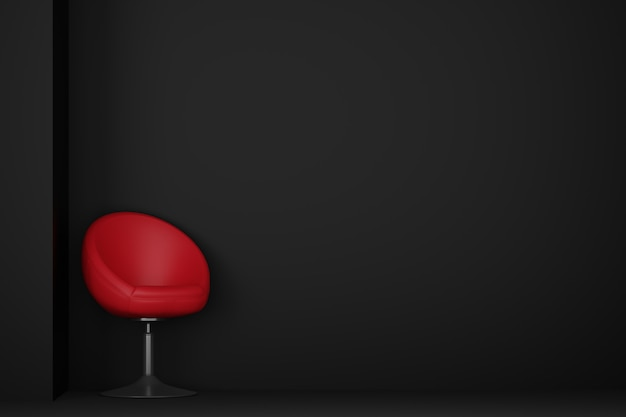Chambre sombre avec canapé chaise rouge. rendu 3d.