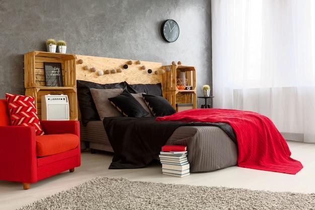 Chambre spacieuse de style contemporain