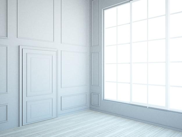 Chambre spacieuse vide avec mur de moulures grises et hautes fenêtres