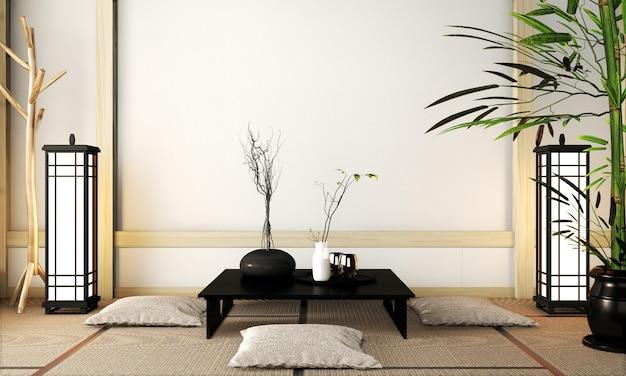 Chambre de style très zen avec une décoration de style japonais sur tatami. rendu 3d