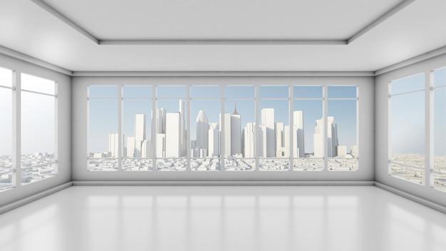 Chambre vide blanche dans un gratte-ciel