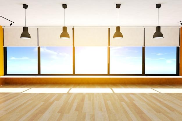 Chambre vide et parquet avec grandes fenêtres et plafonniers, rendu 3d