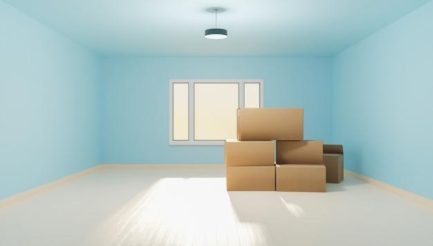 Chambre vide avec plancher en bois avec boîtes de déménagement et une fenêtre éclairant. rendu 3d
