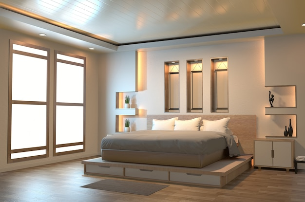 Chambre zen moderne et paisible