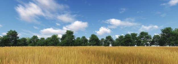Champ de blé panoramique avec nuage et le ciel bleu. rendu 3d