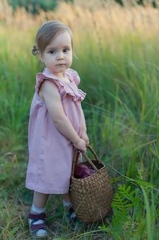 Champ de blé vert. belle fille se promène sur le terrain. un enfant avec un panier ramasse des épillets. loisirs et agriculture. cheveux longs d'une jeune fille