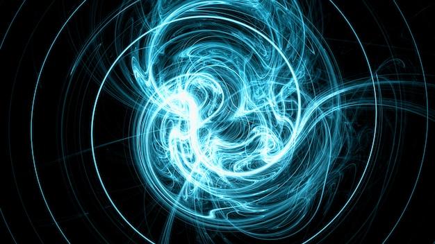 Champ électromagnétique bleu vif