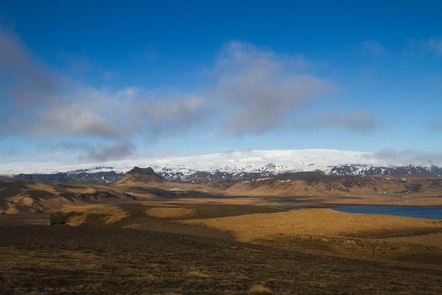Champ entouré d'eau et de collines couvertes de neige sous un ciel nuageux en islande