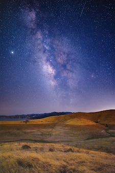 Champ d'herbe brune et verte sous un ciel bleu avec des étoiles pendant la nuit