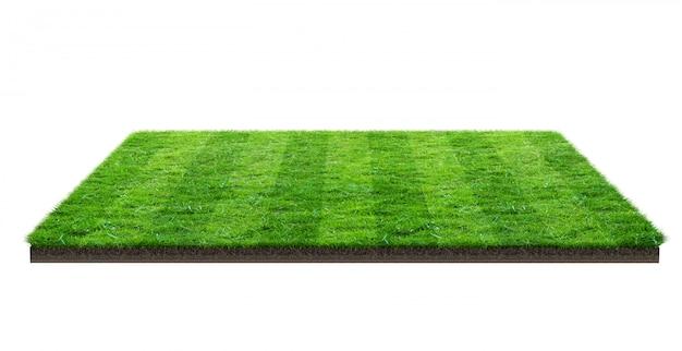 Champ d'herbe verte isolé avec un tracé de détourage. terrain de sport. jeux d'équipe d'été.