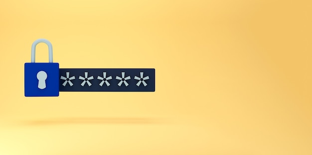 Champ de verrouillage et mot de passe 3d. concept de connexion sécurisé protégé par mot de passe. concept créatif minimal dans les couleurs bleues et noires sur fond jaune. rendu 3d
