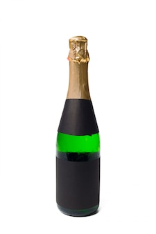 Champagne sur fond blanc