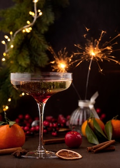 Champagne et panettone dessert italien traditionnel