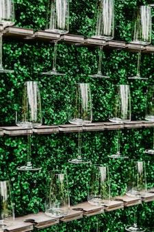 Champagne, vin mousseux, mousseux blanc, boisson, vin, gazéifié, comptoir de boissons, mur de champagne, boissons apéritives, verres à champagne, herbes, table de buffet.
