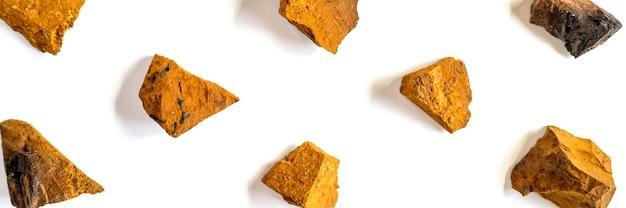 Champignon chaga. morceaux cassés de champignon chaga de bouleau pour infuser du thé naturel