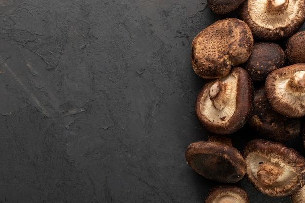Champignons bruns frais mûrs isolés sur fond gris
