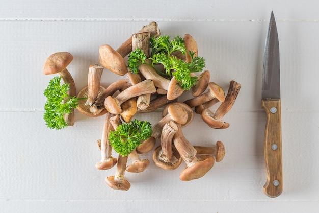 Champignons et un couteau à manche en bois avec des feuilles de persil sur un tableau blanc. champignons forestiers sur la table. cuisine végétarienne.