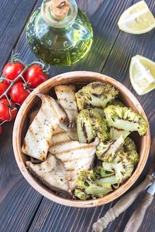 Champignons pleurotes grillés au brocoli