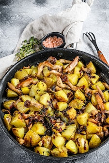 Champignons pleurotes avec pommes de terre dans une casserole.