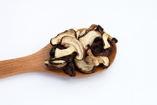 Champignons shiitake séchés sur fond blanc