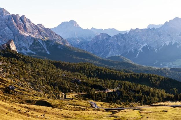 Champs verts et route dans les alpes des dolomites