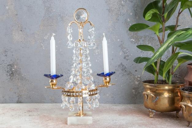 Chandelier vintage en cristal pour deux bougies