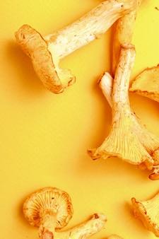Chanterelles fraîches crues sur un jaune. vue de dessus