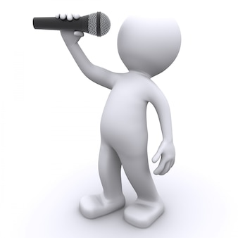Chanteur 3d avec microphone