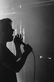 Chanteur sur scène lors d'un spectacle en direct
