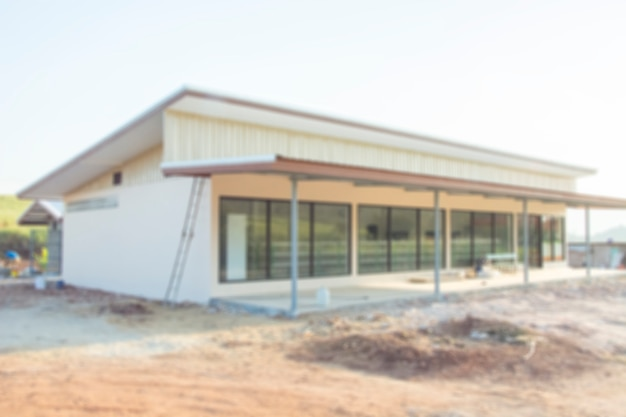Chantier de construction de centre commercial flou fond