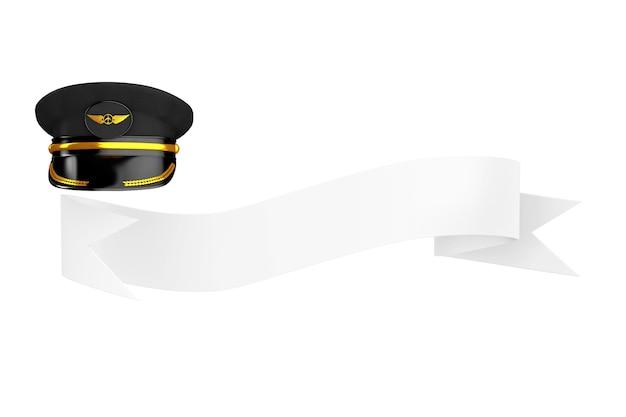 Chapeau ou casquette de pilotes de ligne de l'aviation civile et du transport aérien avec l'insigne de l'aviation d'or sur un ruban vierge pour votre signe sur un fond blanc. rendu 3d