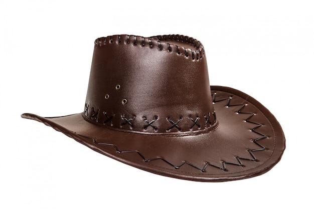 Chapeau de cowboy en cuir marron isolé sur fond blanc