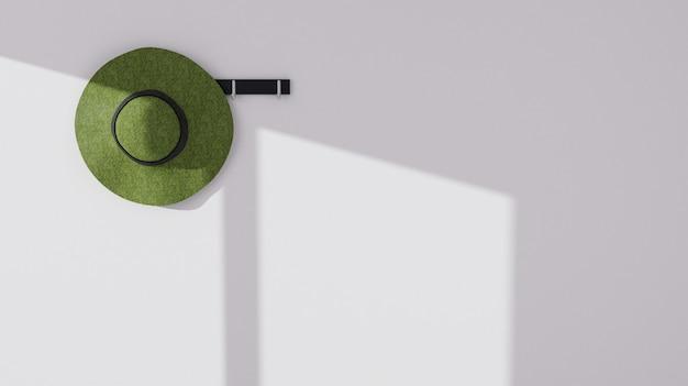 Chapeau d'été 3d avec ombre de fenêtre sur le mur