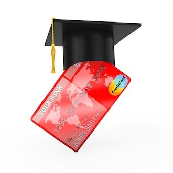 Chapeau de graduation sur carte de crédit sur fond blanc. rendu 3d