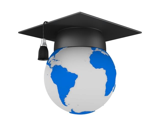 Chapeau de graduation et globe sur blanc.