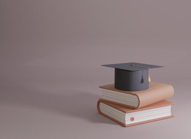 Chapeau de graduation sur les livres