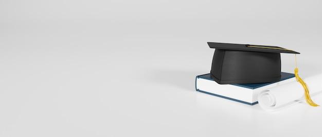 Chapeau de graduation de rendu 3d sur un livre et un diplôme isolé sur fond blanc